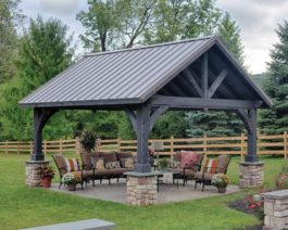 alpine wooden pavilion with metal roof