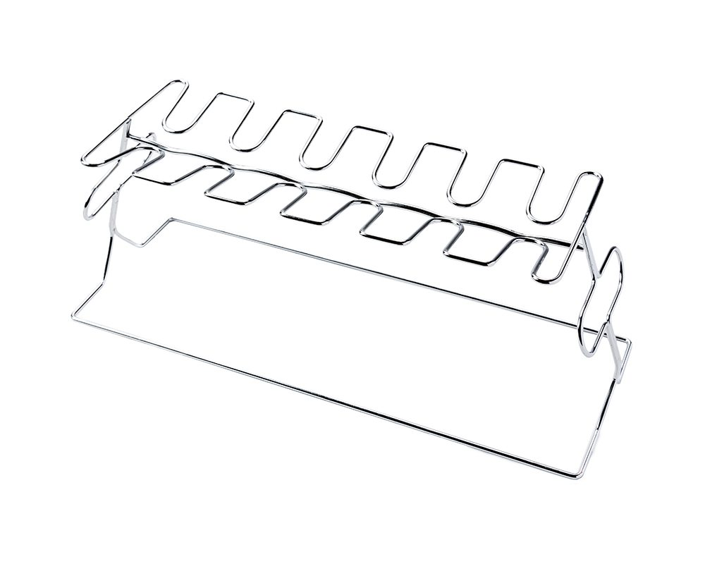 silver rack for holding chicken legs