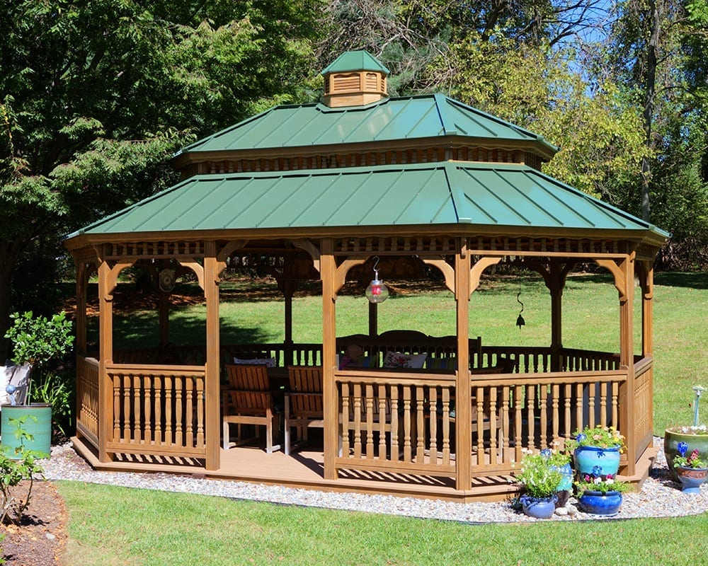 14x20 Oval Wooden Gazebo