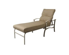 Tan Albany chaise lounge with cushions.