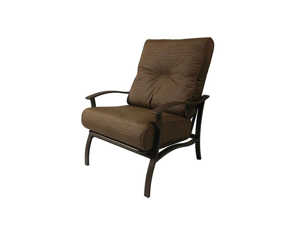 Albany lounge chair with brown cushions.