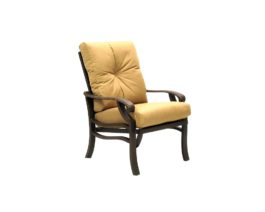 Brown Anthem dining chair with golden yellow cushions.