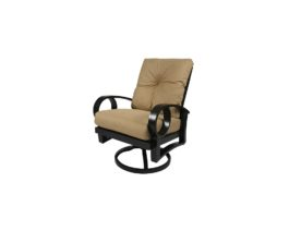 Eclipse swivel dining chair with tan cushions.