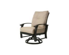 Brown Georgetown swivel dining chair with tan cushions.