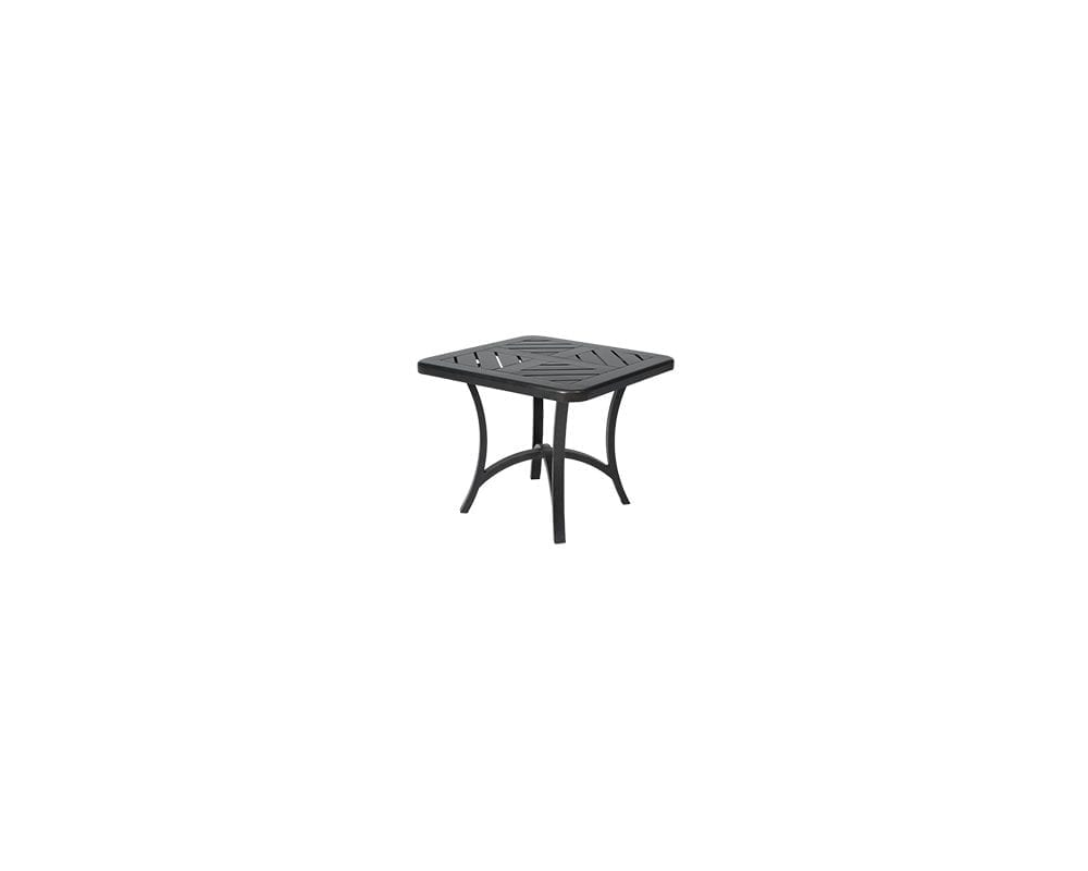 Black Fulton end table with 4000 base and slatted top.