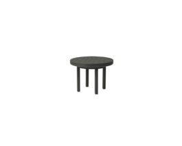Black Trinidad round end table with 3000 base and slatted top.