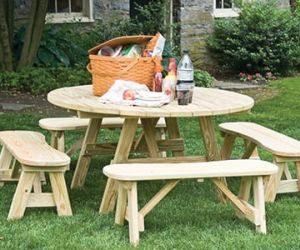 Commercial wood outdoor dining furniture.